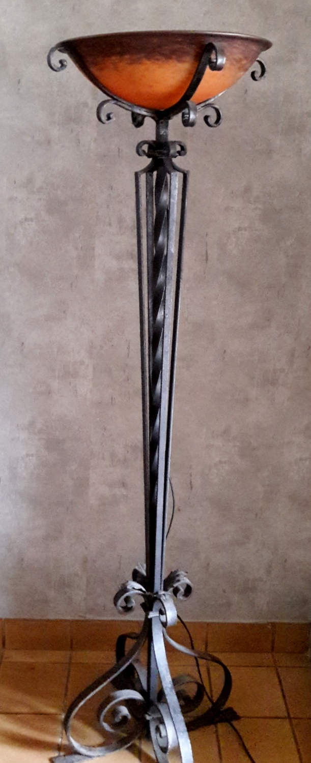 LAMPADAIRE ART DECO SIGNE MULLER / ART DECO FLOOR LAMP SIGNED MULLER