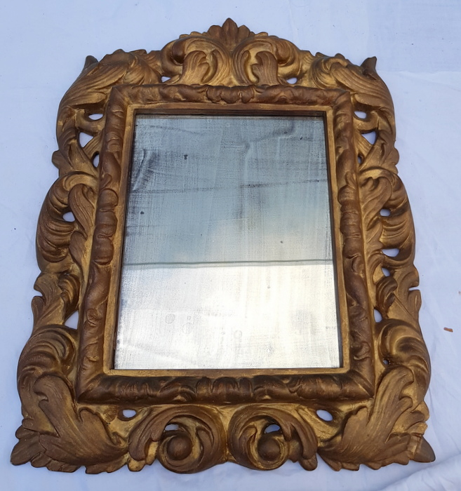MIROIR AU MERCURE ET BOIS DORE / MERCURY MIRROR AND GOLDEN WOOD