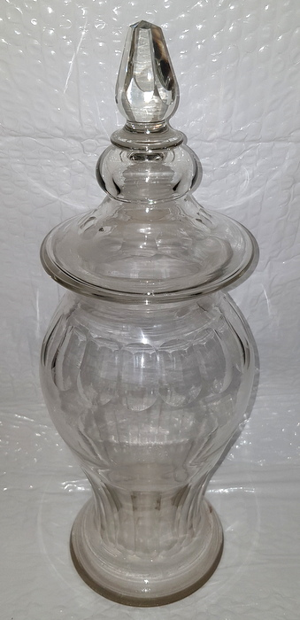 GROS POT COUVERT DE PHARMACIE CRISTAL XIXEME/PHARMACY COVERED CRYSTAL POT